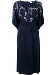 Megan Park Embroidered Flower Dress Blue