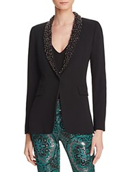 Alice Olivia Macey Beaded Shawl Lapel Blazer Black