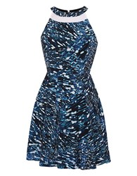 Ali Ro Abstract Print Pleated A Line Dress Surf Blue Black