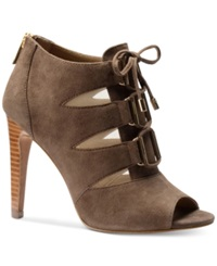 Isola Brinly Lace Up Peep Toe Booties Women's Shoes Nimbus Grey