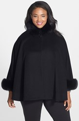 Plus Size Women's Fleurette Wool Cape With Genuine Fox Fur Trim