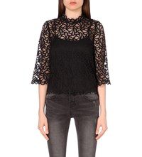 Moandco. High Neck Floral Lace Top Black