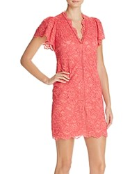 Rebecca Taylor Lace Flutter Sleeve Dress Coral