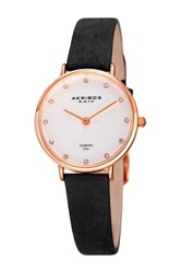 Akribos Xxiv Women's Round White Dial Two Hand Quartz Strap Watch Black