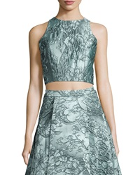 Alice Olivia Sleeveless Floral Jacquard Crop Top