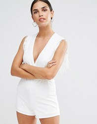 Oh My Love Wrap Over Playsuit With Fringe Trim Cream