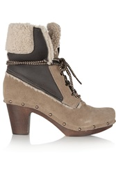 Penelope Chilvers Shearling Trimmed Suede Boots