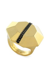 Louise Et Cie Split Octagon Pave Ring Gold Black