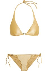 Calvin Klein Beachwear Icons Metallic Triangle Bikini Gold
