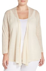 Plus Size Women's Nic Zoe '4 Way' Three Quarter Sleeve Convertible Cardigan Sandshell