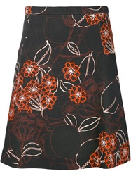 Giambattista Valli Flower Print A Line Skirt Red