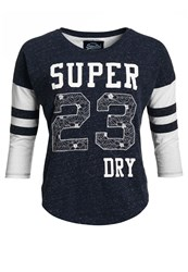 Superdry Football Lace Embroidery Top Navy