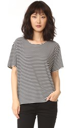 Norma Kamali Kulture Short Sleeve Boxy Top Ivory Black Stripe
