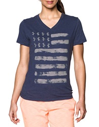 Under Armour Charged Cotton Tri Blend Patriotic V Neck Faded Ink