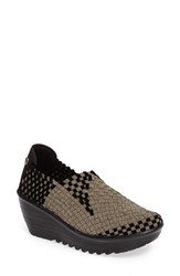 Bernie Mev Women's Mev. Gem Woven Platform Wedge Bronze Black Velvet Fabric