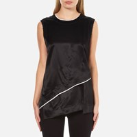 Dkny Women's Sleeveless Layered Shirt With Asymmetrical Hem And Raw Edge Detail Black Chalk