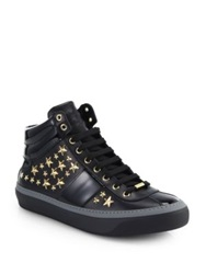 Jimmy Choo Belgravia Leather High Top Sneakers Black Gold