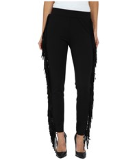 Rachel Zoe Margery Fringe Leggings Black Women's Casual Pants