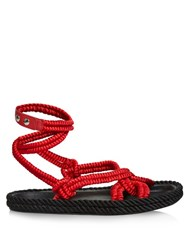 Isabel Marant Lou Wraparound Rope Sandals Red