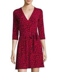 Leota 3 4 Sleeve Brush Print Perfect Wrap Dress Wine