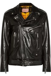 Gucci Painted Leather Biker Jacket Black