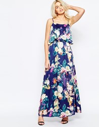 Girls On Film Maxi Dress In Blurred Floral Print Navy