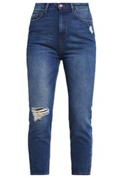 New Look Cherry Relaxed Fit Jeans Blue Pattern