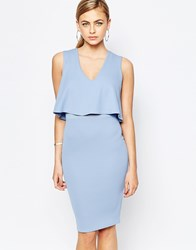 Tfnc 2 In 1 Midi Dress With Mesh Insert At Waist Powder Blue