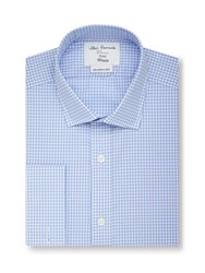 T.M.Lewin Gingham Fully Fitted Classic Collar Formal Shirt Blue