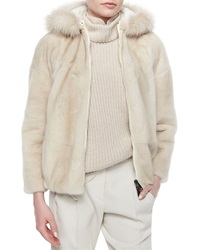 Brunello Cucinelli Reversible Mink Jacket With Fox Fur Trimmed Hood