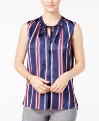 Tommy Hilfiger Sleeveless Striped Sateen Blouse Navy Red White