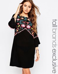 Liquor And Poker Tall Folk Embroidered Kaftan Dress Black