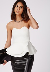 Missguided Strapless Peplum Top White