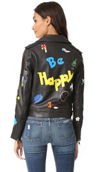 Mira Mikati Hand Painted Leather Jacket Dark Grey