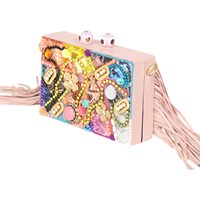Hitbags Boho Fringe Clutch Multi