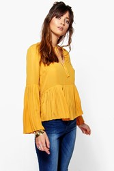 Boohoo Pleat Hem Tie Neck Woven Top Ochre