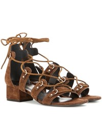 Saint Laurent Suede Lace Up Sandals Brown