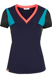 Monreal London Mesh Trimmed Stretch Jersey Top Navy