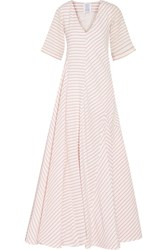 Rosie Assoulin Miss Direction Striped Stretch Cotton Cloque Gown Red White