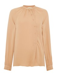 Noa Noa Shirt With Long Sleeve And Buttons Halfway Down Orange