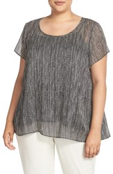 Eileen Fisher Plus Size Women's Firefly Print Crinkled Silk Top