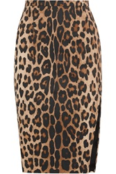 Altuzarra Devon Leopard Print Stretch Cotton Pencil Skirt