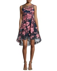 Marchesa Sleeveless Floral High Low Cocktail Dress Navy