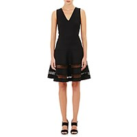 Barneys New York Women's Eyelet Trimmed Sleeveless Dress Black Blue Black Blue