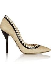 Paul Andrew Petra Patent Leather Trimmed Woven Pumps Ivory