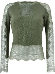 Ermanno Scervino Lace Insert Sweater Green