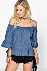 Boohoo Off The Shoulder Denim Ruffle Top Blue