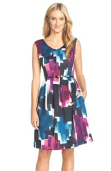 Belted Print Scuba Fit And Flare Blue