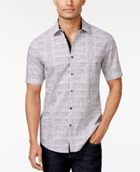 Alfani Red Slim Fit Grid Print Short Sleeve Shirt Only At Macy's