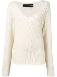 Isabel Benenato V Neck Knit Sweater Red